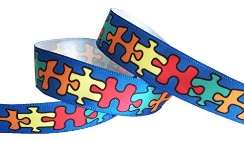 HipGirl Autism Fabric, Autism Ribbon, Autism Awareness Products, Jigsaw Puzzle Ribbon for Gift Package Wrapping, Hair Bow Clips, Crafting, Fundraiser Walk/Run (5yd 5/8