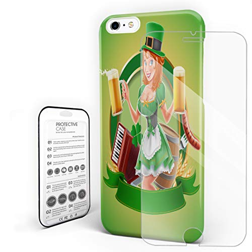 St. Patrick's Day Ultra Thin Phone Case, Beer Costume Girl, Hybrid Layer Scratch Resistant Hard Back Phone Cover Bumper Case with Tempered Glass Screen Protector for iPhone 6/6s ()