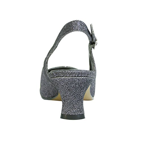 Slingback Guide Width Or for FIC Affairs Priya Floral Women Measurement Elegant Dress Size Wide Pump Pewter xWX6Wpqc