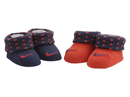 (Nike Newborn Infant Booties 2-Pair Pack (0-6 Months, Habanero Red (LN0043-R4Y) / Navy))
