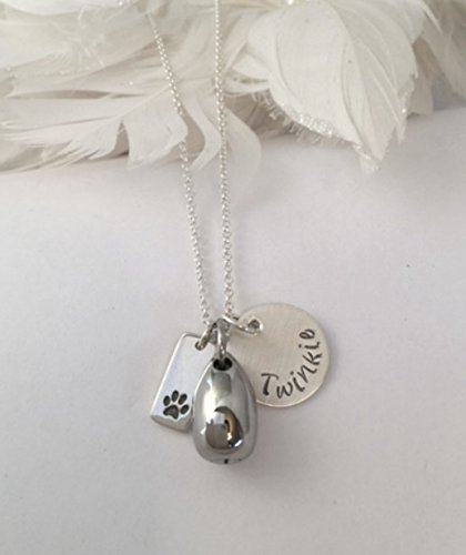 Amazon a personalized sterling silver memorial necklace with a personalized sterling silver memorial necklace with cremation urn pendant sterling silver paw print charm aloadofball Images