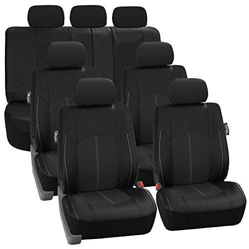 FH GROUP FH-PU008217 Perforated Leatherette Three Row Set Ca