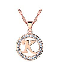 Initial Letter Necklace A to Z, 18K Gold/Platinum Plated Alphabet Charm
