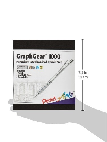 Pentel Arts GraphGear 1000 Premium Gift Set with Refill Leads & Erasers (PG1000BXSET) Photo #2