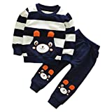 Hot Sale Autumn Winter Kids Baby 2Pcs Set Cute Striped Bear Long Sleeve Tops Sweatshirt + Pants With Pockets (Navy, 3T)