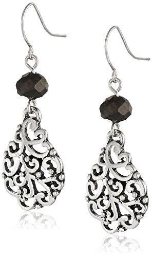 Hematite Bead Earrings - Hematite Facet Bead and Filigree Teardrop Earrings