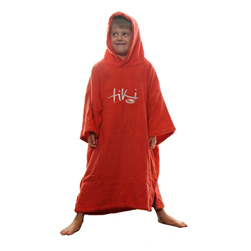 Tiki Kids Junior Hooded Towelling Changing Change Robe Beach Swim Poncho Red