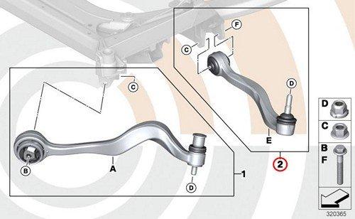 BMW Genuine Control Arm Wishbone Right Repair Kit E63 E63N E64 E64N E65 E66 645Ci 650i 650i 645Ci 650i 650i 745i 760i 745Li 760Li ()