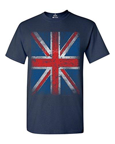 (Union Jack Vintage British Flag T-shirt Flag Shirts #13315 X-Large Navy Blue)
