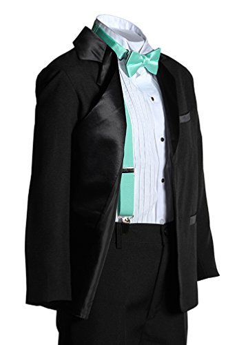 Boys Two Button Notch Tuxedo with Mint Suspender Bow Tie Set from Tuxgear