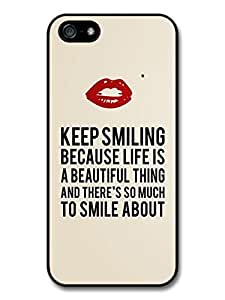 Marilyn Keep Smiling Signature and Kiss Quote case for iPhone 5 5S by icecream design