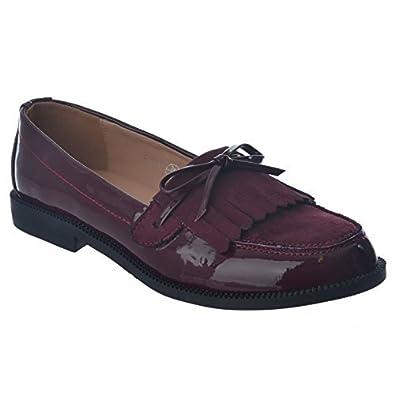 Señoras Mujeres Cordones Clásico Flequillos Mocasines Planos Oficina Zapatos De Tacón Bajo Zapatillas Zapatos Oxford Talla - Burdeos Charol/Lazo, ...