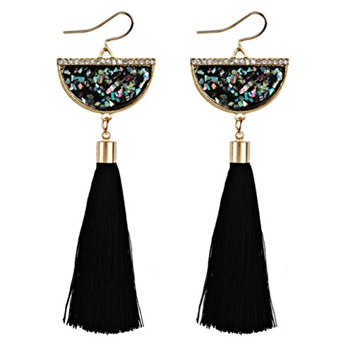 Shaped Tassel (Swyss Bohemia Vintage Style Earrings Fan-shaped Sequins Diamond Long Tassel Earring Dangle Jewelry Fashion Trend (Black))