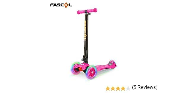Fascol Scooter Patinete Plegable de 3 Ruedas Globber Luces con Rodilleras Coderas para Niños de 2 a 12 Años 60 kg,Rosa
