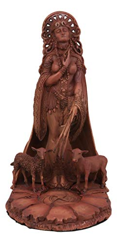 Ebros Celtic Goddess of Fire Brigid Statue Patroness of Hope Poetry Livestock Medicine Spring Fertility Bridget Figurine in Reddish Clay Paintwork Gods and Goddesses Home Decor Statue