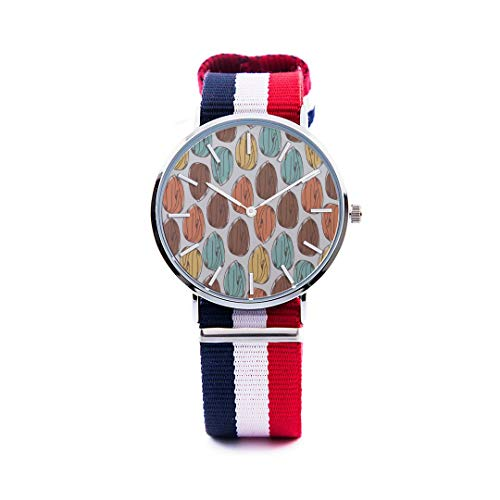 Unisex Fashion Watch Almond Dried Fruit Casual Snack Ideas Print Dial Quartz Stainless Steel Wrist Watch with Nylon NATO Strap Watchband for Women Men 36mm Casual Watch