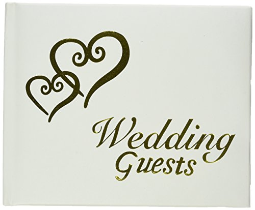 Darice VL0014 Wedding Guests G Book with Linked Gold Hearts, White