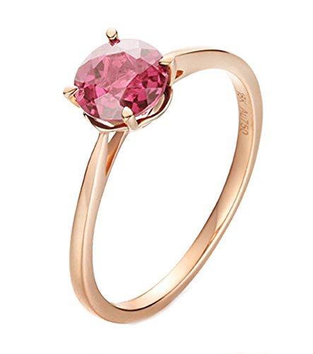 18K Gold Ring,0.8Ct Round Cut Certified Diamond Pink Tourmaline Ring Promise Ring for Women Bride Size 10 by Epinki