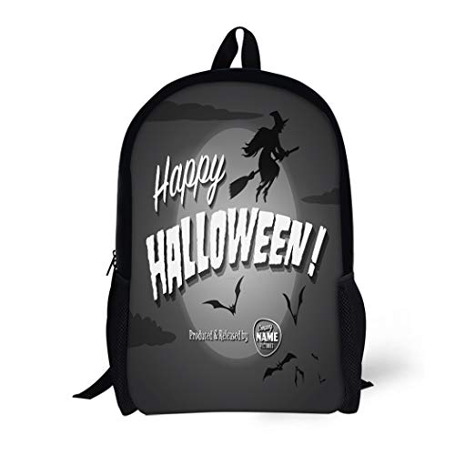 Pinbeam Backpack Travel Daypack Retro Movie Ending Screen Happy Halloween Vintage Witch Waterproof School Bag -