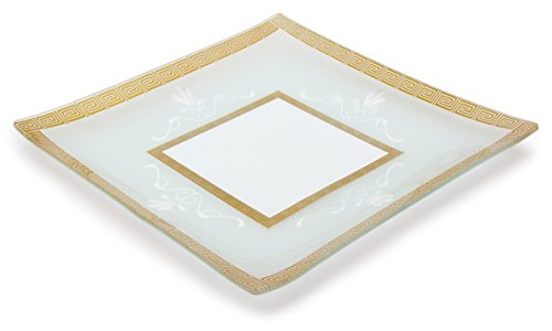 GAC Large 13 Inch Tempered Glass Tray Square Glass Platter Break and Chip Resistant – Oven/Microwave Safe – Dishwasher Safe Decorative Glass Serving Tray Dishwasher Safe Platter