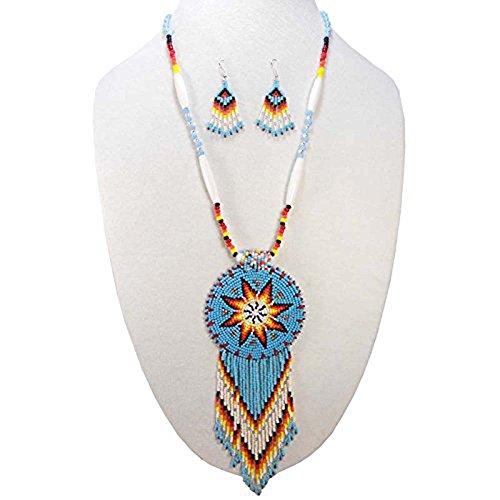 La vivia Handmade Turquoise Blue Native American Style Star Beaded Necklace Earrings Set ()