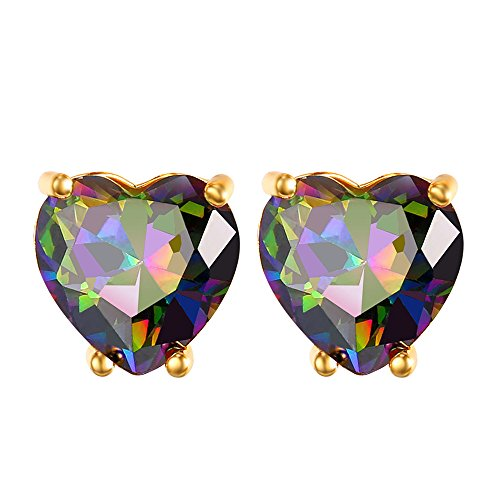 Gold Plated Multi-color Mixed Cubic Zirconia Crystal Heart Stud Earrings (Multi Color Crystal Heart Earrings)
