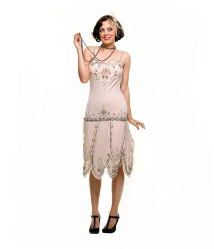 Roaring 1920s Cream Beaded Flapper Gatsby Dress