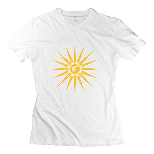LinYang Women Cute Sun Sign Tee Shirts Size M White