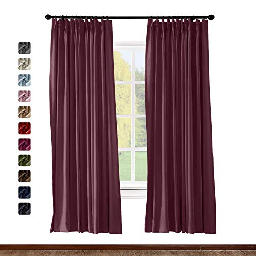 (Pinch Pleat Curtain Solid Thermal Insulated Blackout Patio Door Panel Drape for Traverse Rod and Track, Burgundy 50Wx84L Inch (1 Panel))