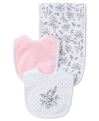 Little Me Baby Girls' 3 Piece Bib and Burp Set, Bird Toile, White Print, One Size