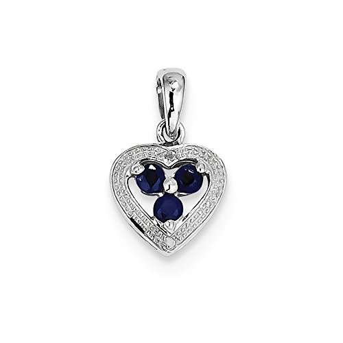 Sterling Silver Rhodium Plated Diamond and Sapphire Heart Pendant by Diamond2Deal