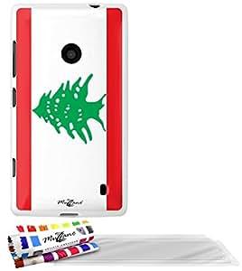 """Carcasa Flexible Ultra-Slim NOKIA LUMIA 520 de exclusivo motivo [Libano Bandera] [Blanca] de MUZZANO  + 3 Pelliculas de Pantalla """"UltraClear"""" + ESTILETE y PAÑO MUZZANO REGALADOS - La Protección Antigolpes ULTIMA, ELEGANTE Y DURADERA para su NOKIA LUMIA 520"""