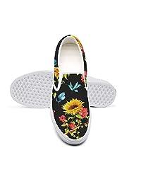 LOKIJM Sunflower Pattern Black Background Fashion Sneakers Women for Women Fashion Non-Slip Run Shoes