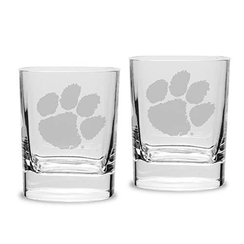 NCAA Clemson Tigers Luigi Bormioli Square Round Double Old Fashion Glass - Set of 2, Clear, 11.75 oz ()