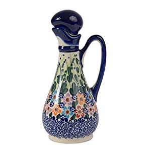 Traditional Polish Pottery, Handcrafted Ceramic Olive Oil or Vinegar Bottle 160ml, Boleslawiec Style Pattern, V.401.Daisy