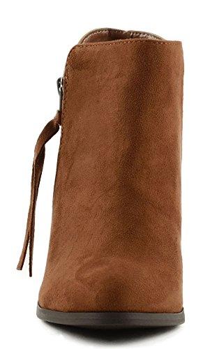 Tassel Heel Women's Block Side Cognac Ages Ankle Zipper Soda Tapered Bootie SBwIq4Wcn0