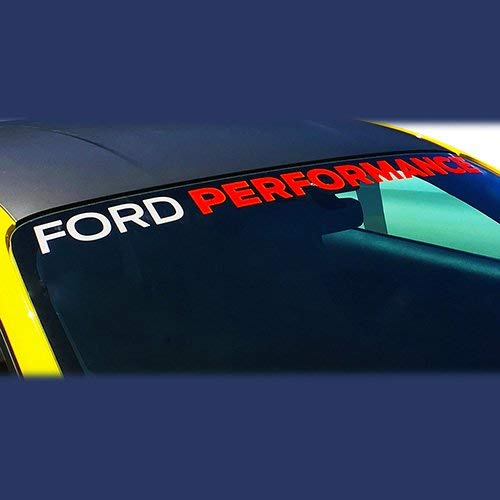 Ford Performance Parts M-1820-MR Ford Performance Windshield Decal; 48 in. Long x 2 in. Tall Ford Performance Lettering; Ford Letters Are White; Performance Letters Are Red;