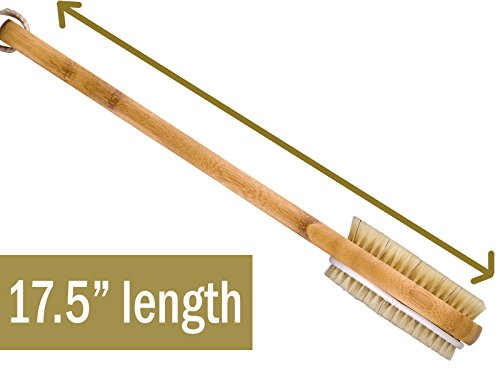 Bamboo Dry Body Back Brush Extra Long Handle Exfoliating