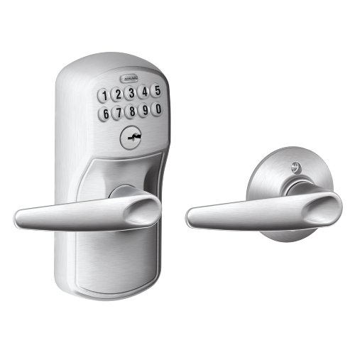 Schlage FE575 PLY 626 JAZ Plymouth Keypad Entry with Auto-Lock and Jazz Levers, Brushed Chrome Schlage