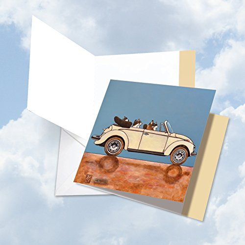 Top Sport Jumbo (JQ4978ABDG Jumbo Birthday Square-Top Card: Tuxedo Car Cats Featuring Whimsically Illustrated Images of Cats Driving Cars, with Envelope (Extra Large Size: 8.25