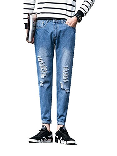 YUZHONGYWAN Classic Mens Hole Jeans Pants Straight Korean Version Of The Harem Pants Light Blue32 by YUZHONGYWAN Jeans