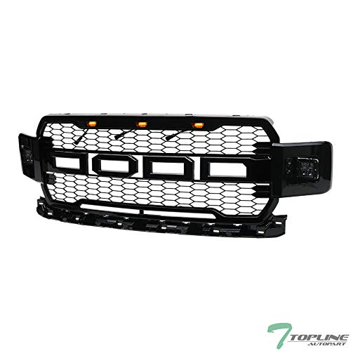 Fog Lamps Billet Grille - Topline Autopart Black RP Style Honeycomb Mesh Front Hood Bumper Grill Grille ABS with Amber Lamps + 12W CREE LED Fog Lights For 18-19 Ford F150