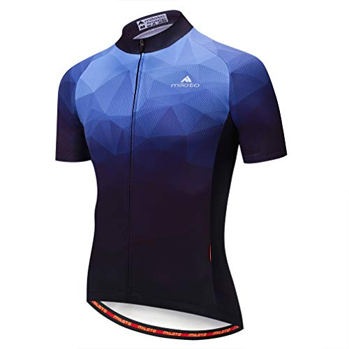 BIYINGEE Men's Cycling Jersey Short Sleeve with Reflective Stripe Blue Dream Size L(CN) ()