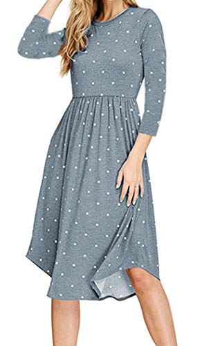 - Halife Casual Midi Dresses for Women with Sleeves No Zip Flare Swing Dress Light Blue L