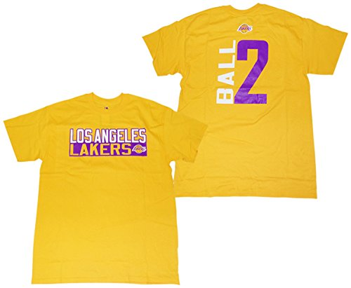 133d8a9fa67 Majestic Lonzo Ball Los Angeles Lakers Gold Vertical Name and Number Player  T-shirt Large