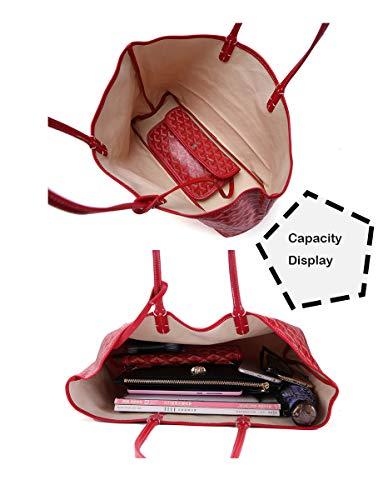 Cuero Shmona Rojo Y Mujer Bolso Patrón Grande De Bolsos Impreso Para Compras Moda Viajes Pu Superior Asa Mano qxBr6HwT7q