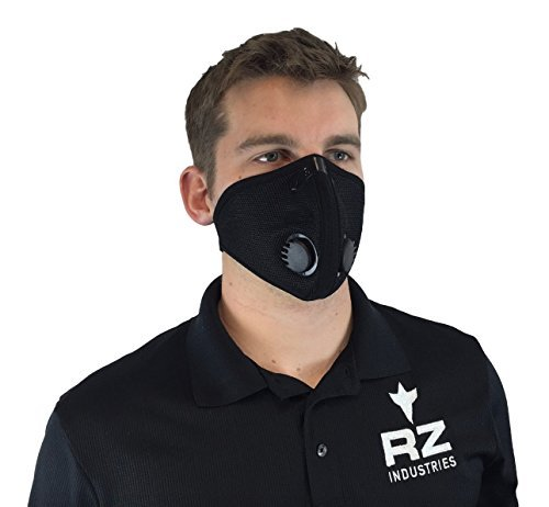 RZ Dust/Pollution Mask Bonus Pack w/2 Laboratory Tested Filters, Model M2, Mesh, Black, Size Regular/Large