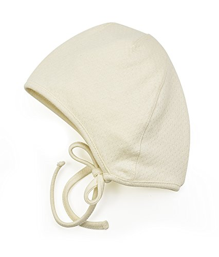 Amoureux Bebe Newborn and Baby Soft Turkish 100% Cotton Pointelle hat Bonnet. Ivory 6 mo -