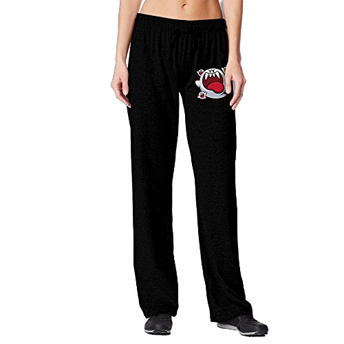 BakeOnion Women's Big Boo Artwork Mario Yoga Sweatpants M Black