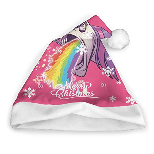 Vomiting Unicorn Childrens Christmas Cap Santa Hats Crazy Xmas Costumes Unisex Christmas Eve Headdress ()